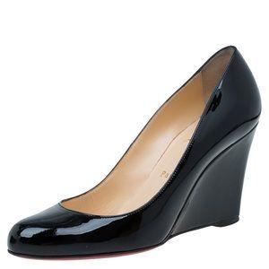 Louboutin black wedge heels